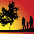 Sunset and family - Stock Photo
