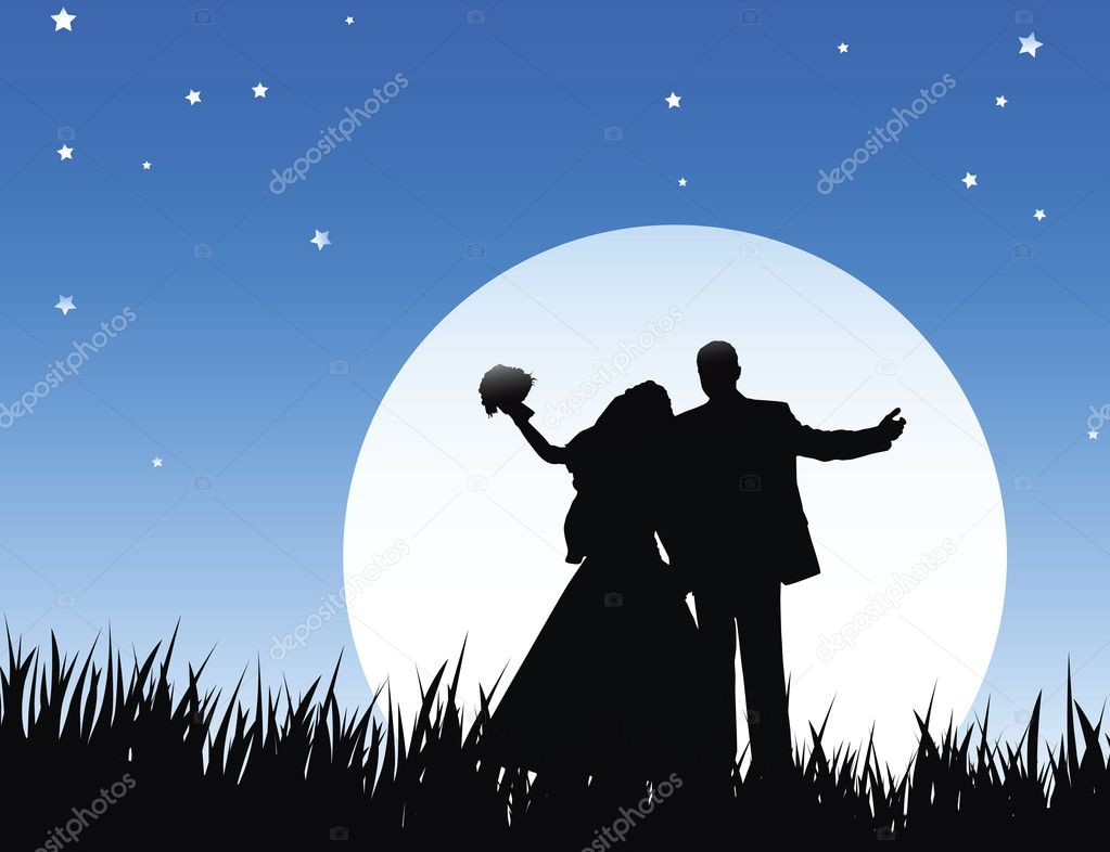 Bride and bridegroom in wedding night on the sky background with night  Stock Photo #3270921