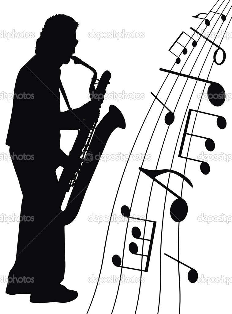 Musician and music symbols on white background  Stock Photo #3271079