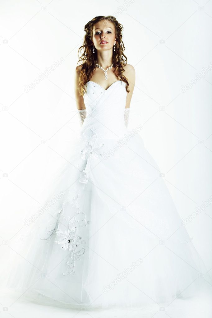 Fashion the girl in wedding dress bride studio photo shooting  Stock Photo #3716037