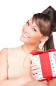 Happy woman with gift box — Stock fotografie