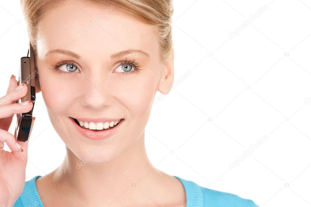 Picture of happy businesswoman with phone over white — Stock Photo #3248074