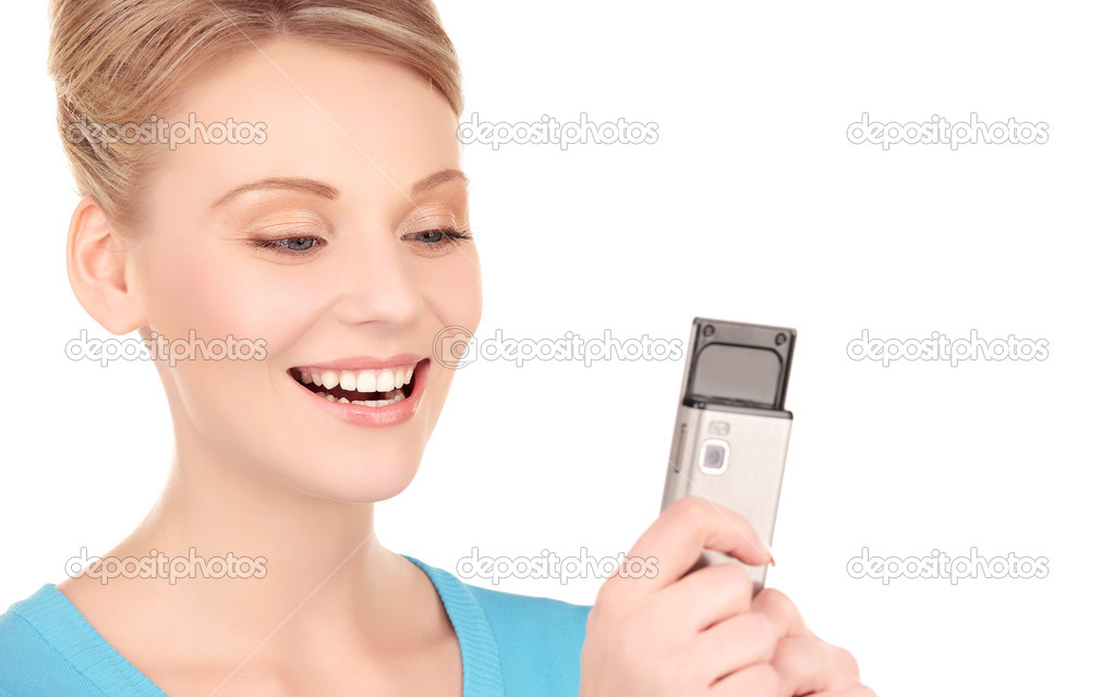Picture of happy woman with cell phone — Stock Photo #3248091