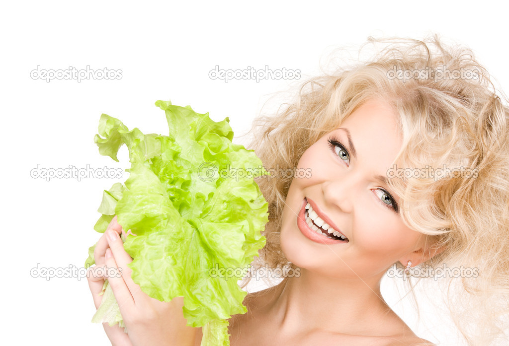 Picture of happy woman with lettuce over white — Stock Photo #3248122