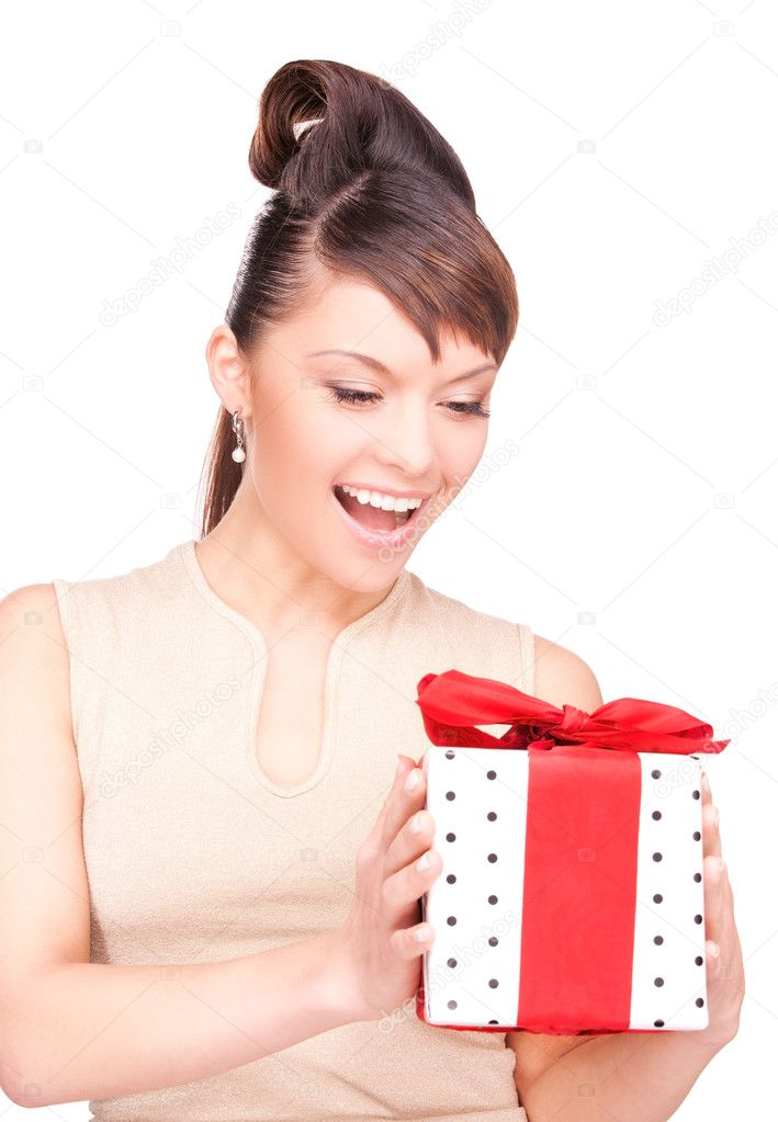 Happy woman with gift box over white — Stock Photo #3248634
