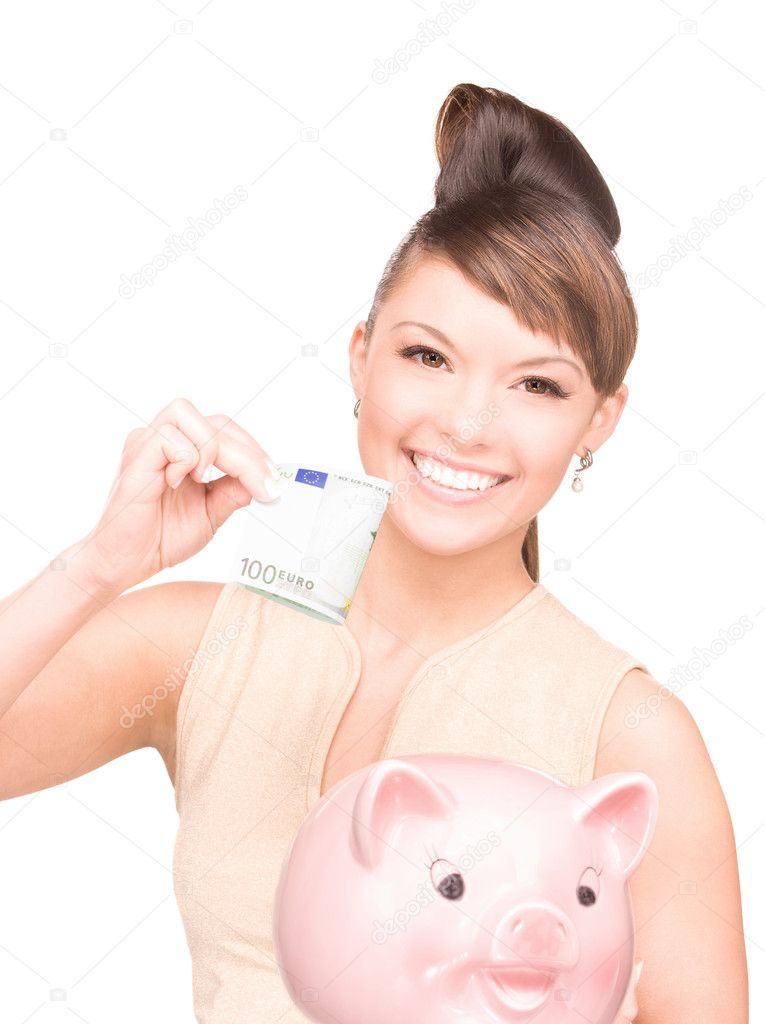 Picture of lovely woman with piggy bank and money — Stock Photo #3248655