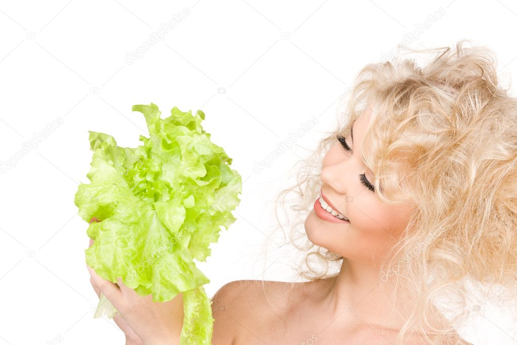 Picture of happy woman with lettuce over white  Stock Photo #3248805