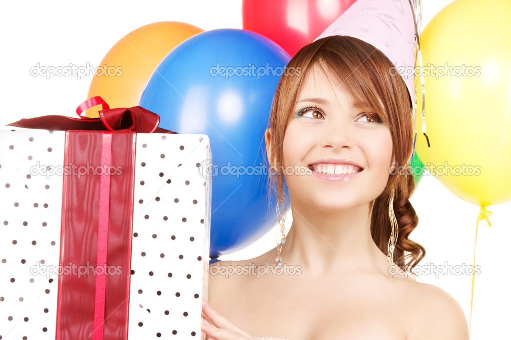 Happy teenage party girl with balloons and gift box — Stock Photo #3249962