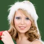 Happy santa helper with gift box — Stock Photo #3255085