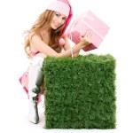 Santa helper with gift box — Stock Photo
