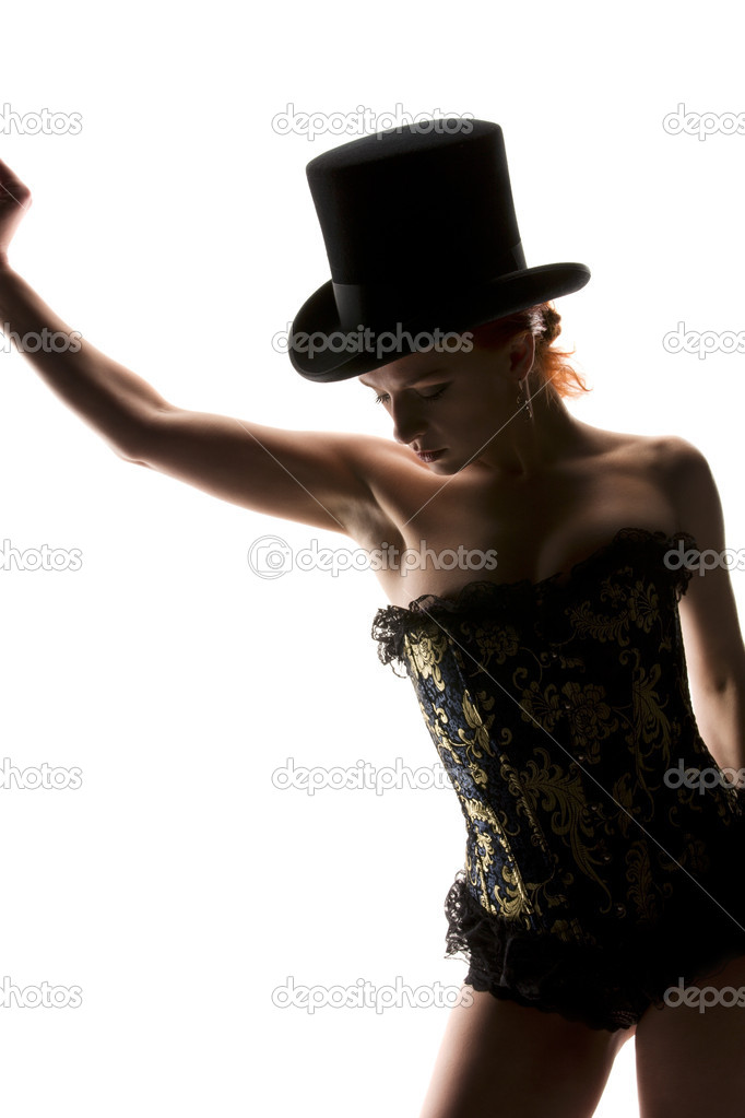 Silhouette backlight picture of sexy woman in corset — Stock Photo #3254856