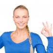 Lovely woman showing ok sign — Stok fotoğraf