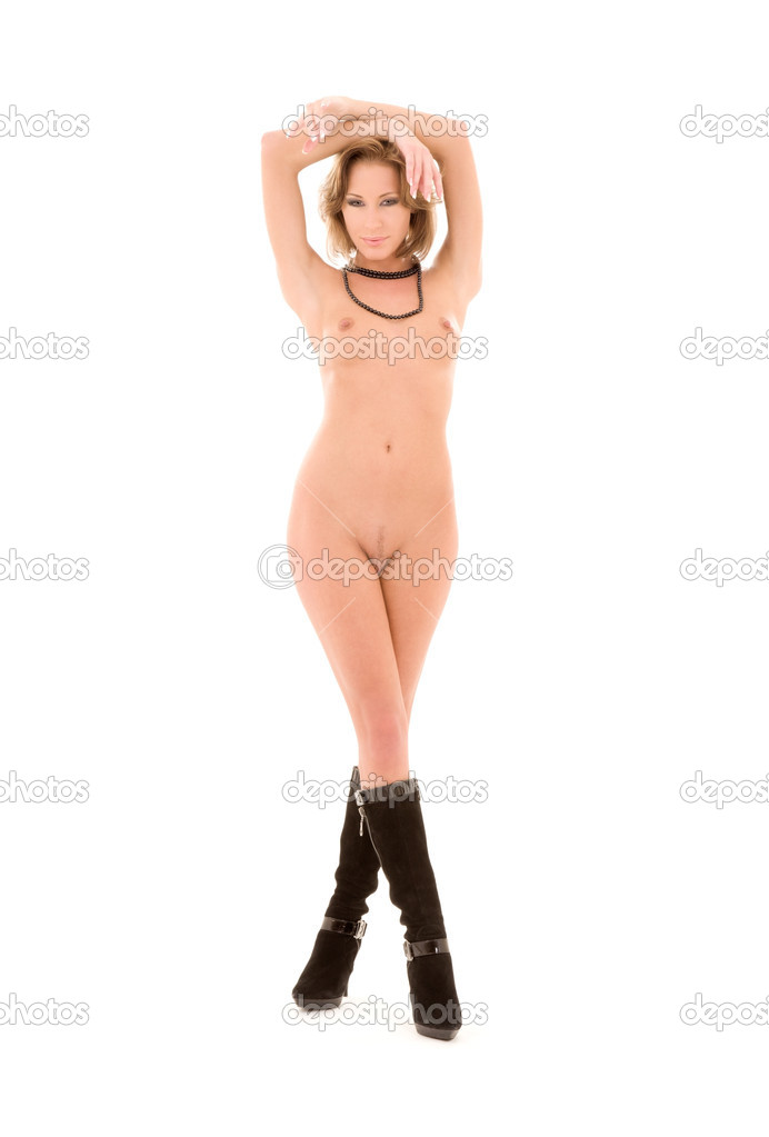 Beautiful naked woman in black boots over white  Stock Photo #3262618