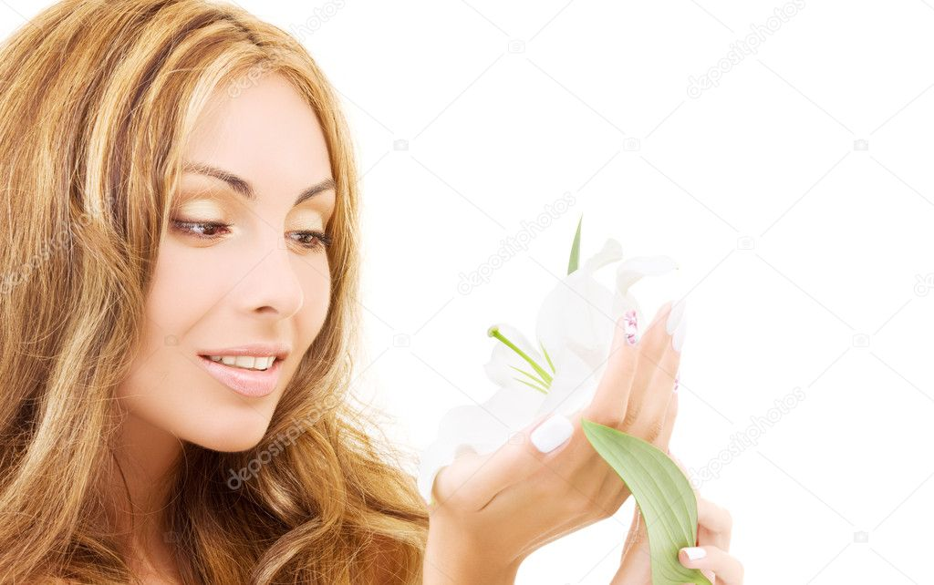 Happy woman with white madonna lily flower — Stock Photo #3262859