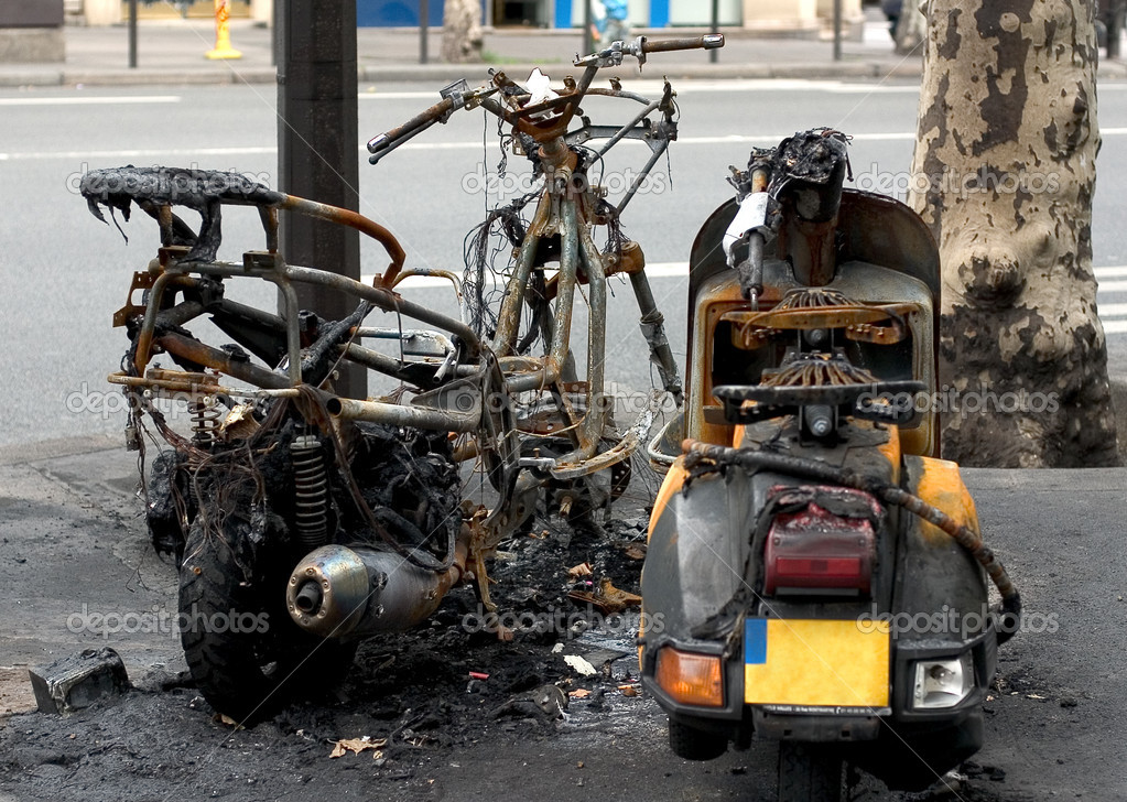 Bikes burned out during the street riots — Stock Photo #3264466