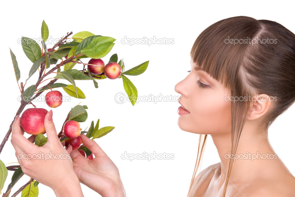 Picture of lovely woman with apple twig — Stock Photo #3276149