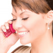Happy woman with cell phone — Stock Photo #3284952