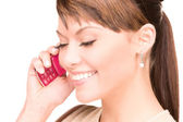 Happy woman with cell phone — Stock Photo