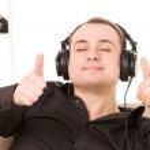 Man in headphones — Stock Photo