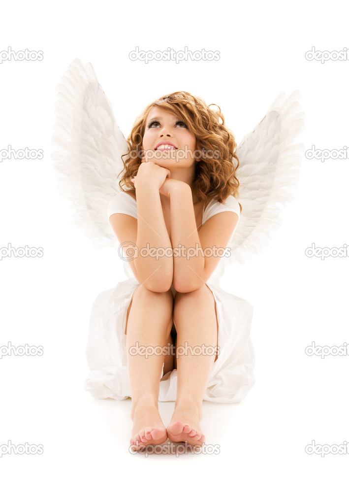 Picture of happy teenage angel girl over white  — Stock Photo #3314545