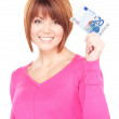 Lovely woman with cash money — Stock Photo