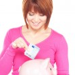 Lovely woman with piggy bank and money — Stock Photo #3326803