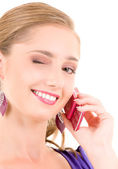 Garota feliz com telefone rosa — Foto Stock