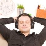 man in hoofdtelefoon — Stockfoto