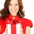 Happy woman with gift box — Stock Photo #3355412