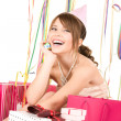 Happy teenage party girl with gifts — Stock Photo