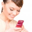 Happy woman with cell phone — Stock Photo #3359677