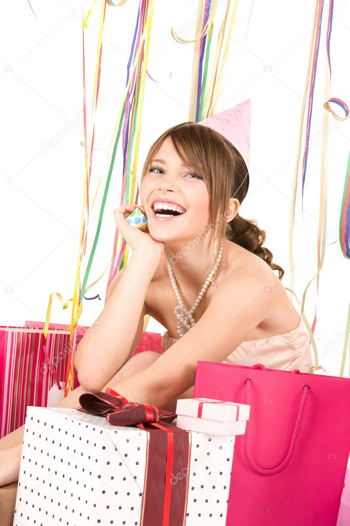 Picture of happy teenage party girl with gifts — Lizenzfreies Foto #3359174