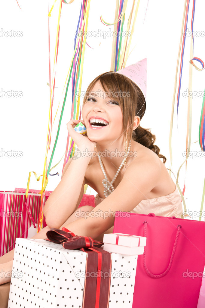Picture of happy teenage party girl with gifts — Stok fotoğraf #3359174