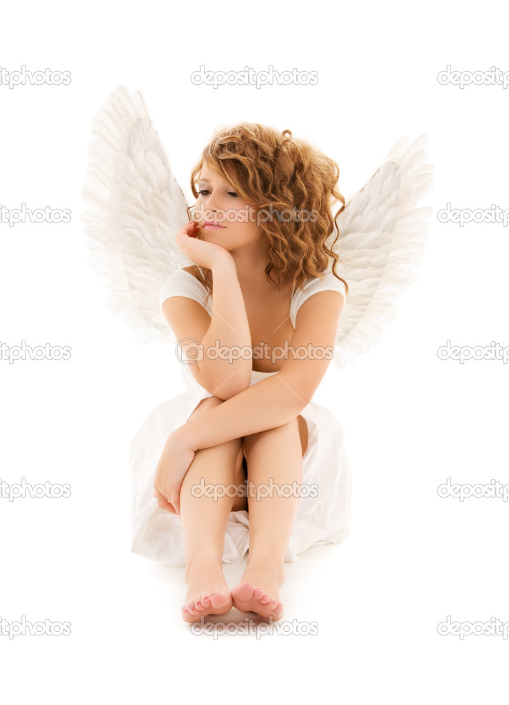 Picture of unhappy teenage angel girl over white — Photo #3359256
