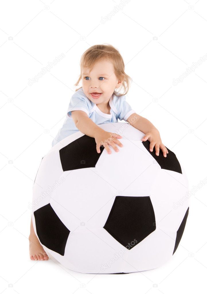 Picture of baby boy with soccer ball over white — Stock Photo #3359730