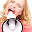 Woman with megaphone — Stock Photo #3384634