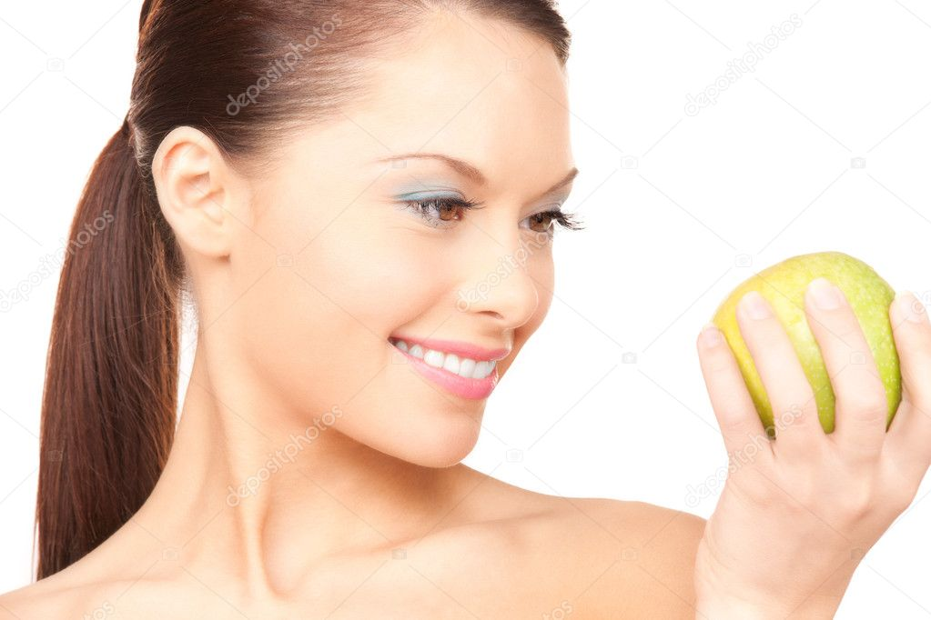 Picture of young beautiful woman with green apple — Stock Photo #3383873