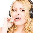Happy woman in headphones — Stock Photo #3401225
