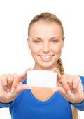 счастливая женщина с визитной карточки — Стоковое фото