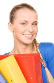 Młody atrakcyjny interesu z folderów — Zdjęcie stockowe