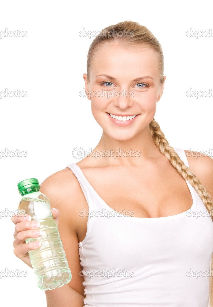 Beautiful woman with bottle of water over white — Stock Photo #3426262