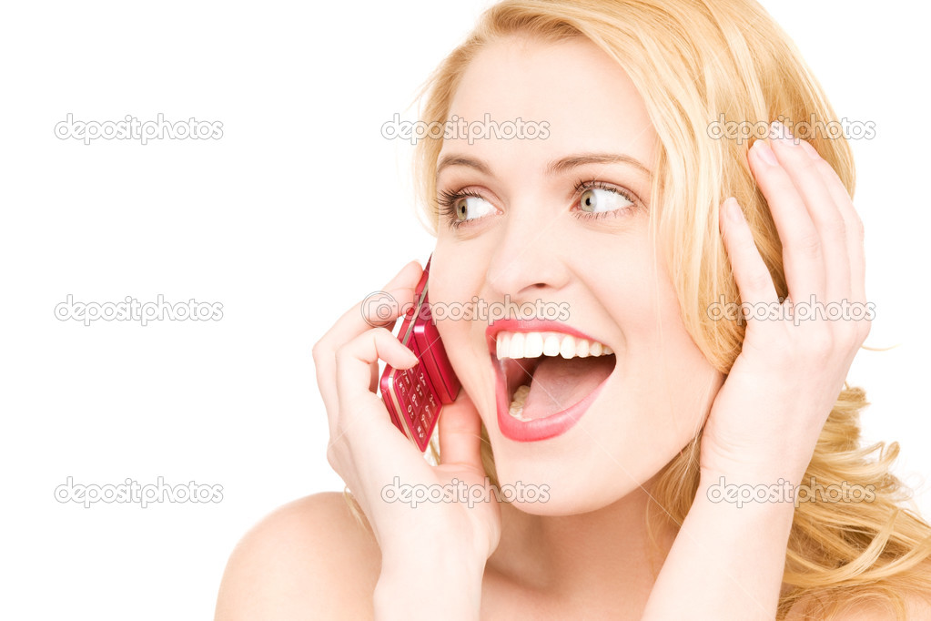 Picture of happy woman with cell phone  Lizenzfreies Foto #3426290