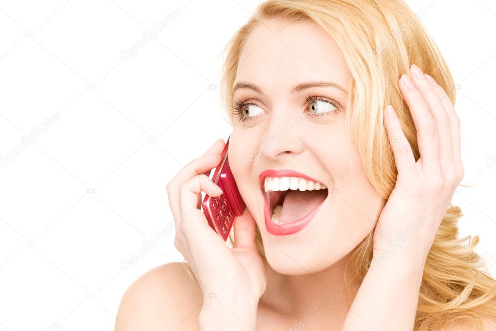Picture of happy woman with cell phone  Stockfoto #3426290