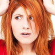 Unhappy redhead woman — Stock Photo #3450251