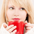 Royalty-Free Stock Photo: Lovely teenage girl with red mug