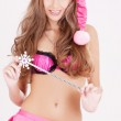 Santa helper girl with magic wand — Stock Photo #3450535
