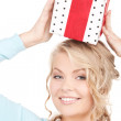 Happy girl with gift box — Stock Photo #3450688