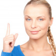 Woman with her finger up — Stock Photo #3458261