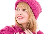 Happy teenage girl in hat — Stock Photo