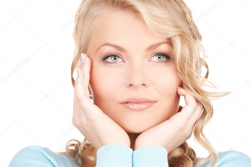 Bright picture of lovely woman over white — Stock Photo #3450699